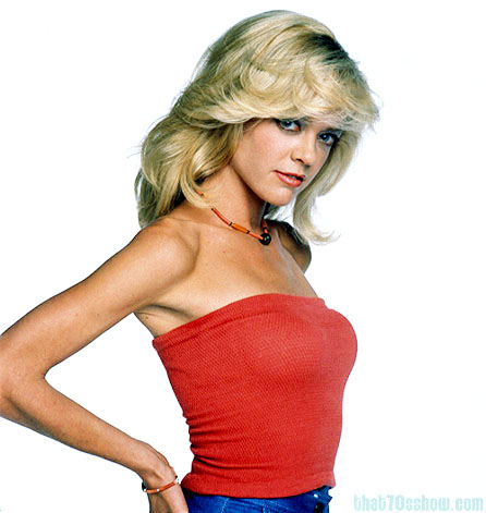Lisa Robin Kelly as her That 70s Show character Laurie Foreman, with the helpful assist of make-up, and photo touch-ups