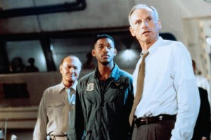 James Rebhorn along with his two sidekicks in INDEPENDENCE DAY (20th Century Fox)